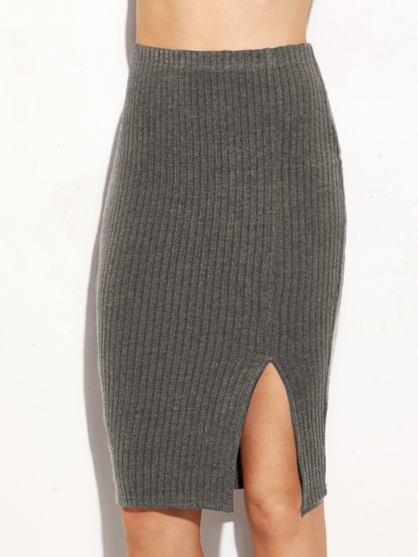 Split Front Ribbed Pencil Skirt split front wales check skirt