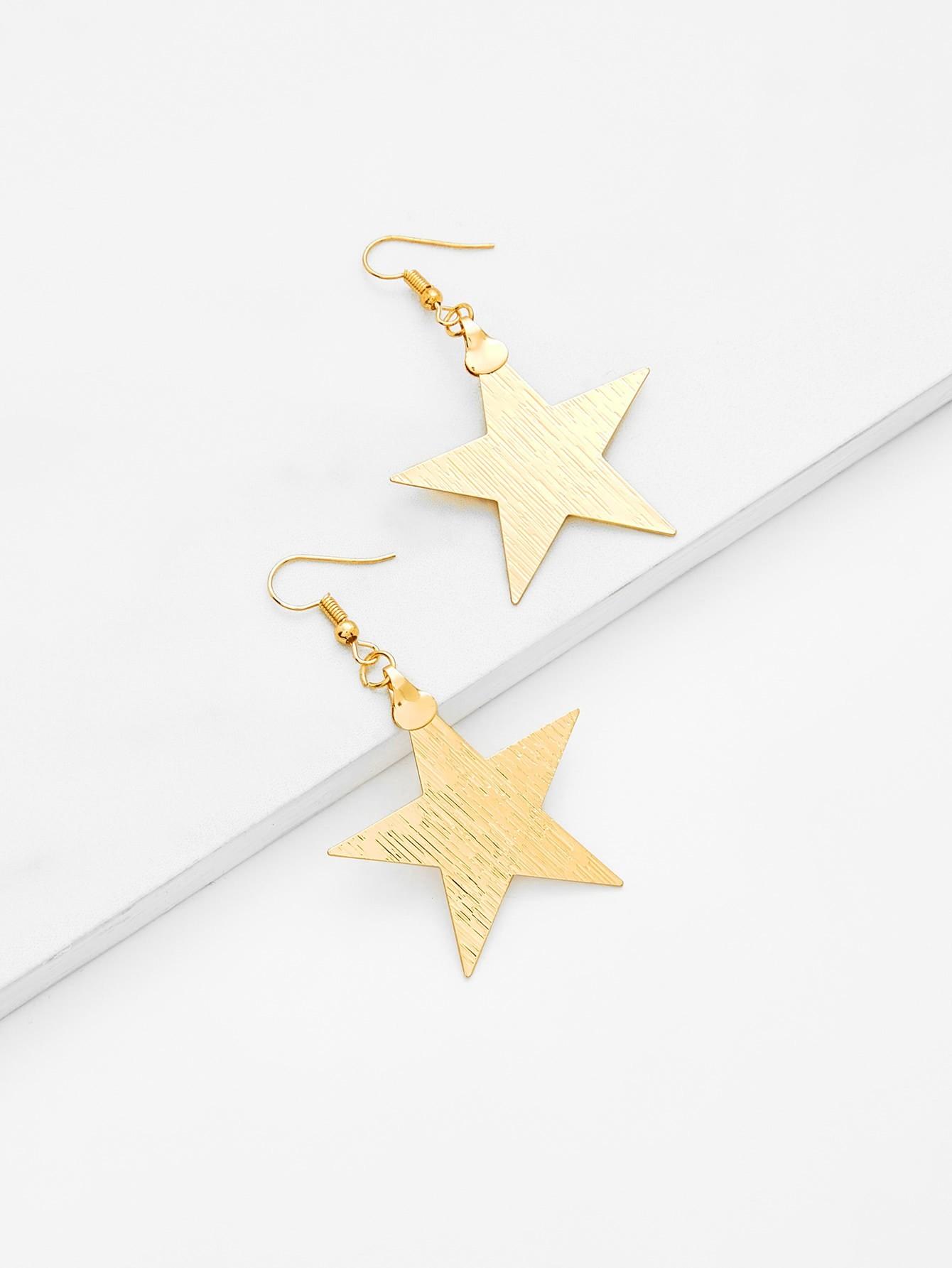 Star Design Drop Earrings two tone face design drop earrings