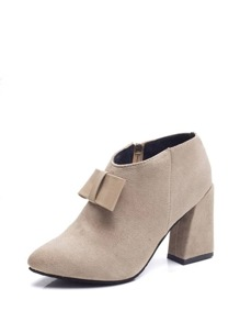 Bow Detail Side Zip Ankle Boots
