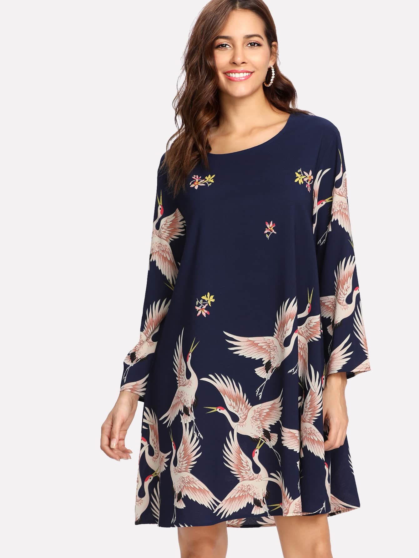 Crane Bird Print Tunic Dress