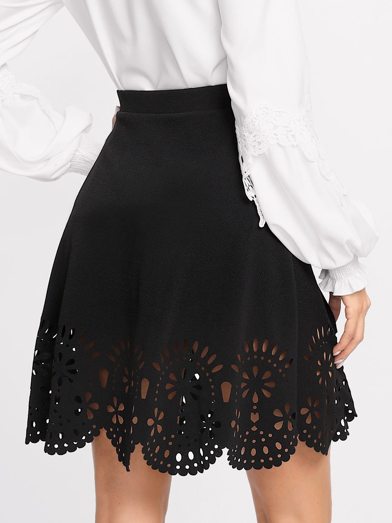 Купить Модная юбка с узором и фестонами, Andy, SheIn