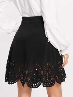 Scalloped Laser Cut Trim Skirt