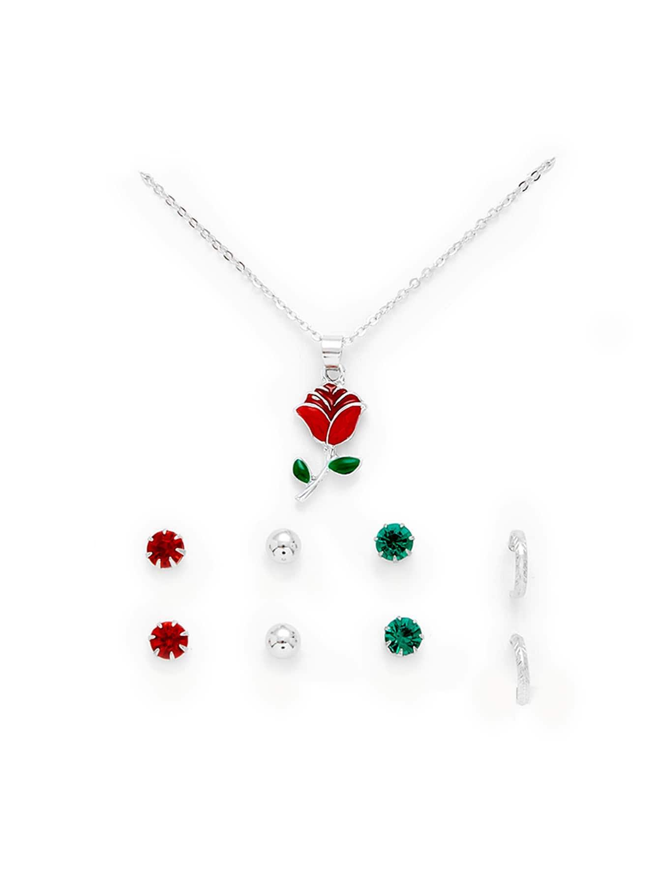 Flower Pendant Necklace & Stud Earring Set er 3789 stylish retro jewelled pendant earring navy blue 2 pcs