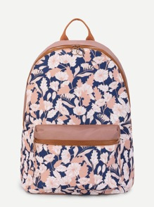 Flower Print Pocket Front Canvas Backpack