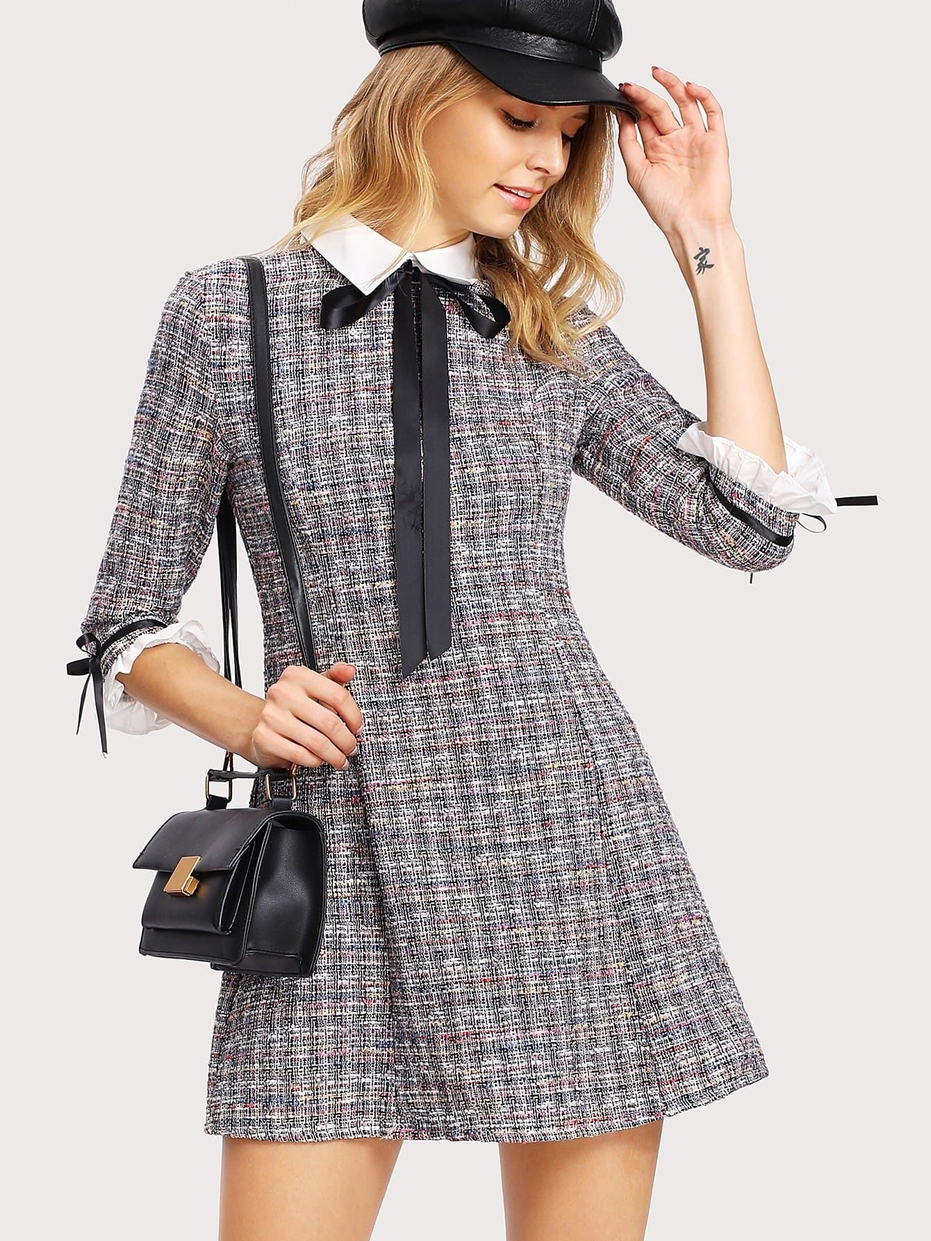 Contrast Collar And Cuff Tweed Dress lace collar and cuff tunic dress