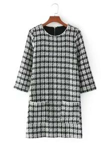 Front Pocket Plaid Tweed Dress