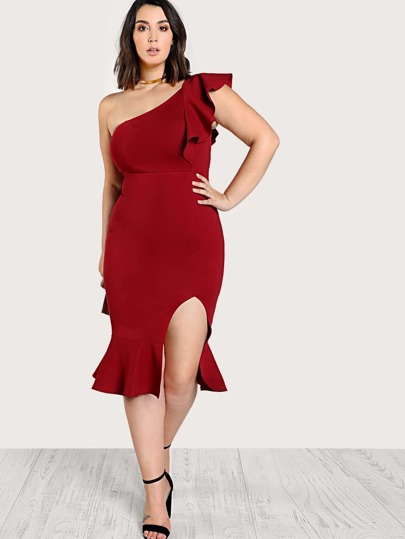 One Shoulder Split Front Flounce Dress