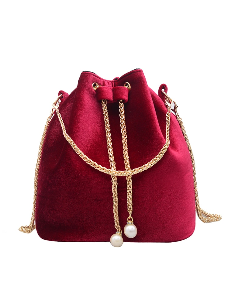 Drawstring Bucket Chain Bag
