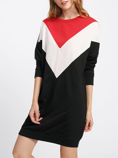 Cut And Sew Color Block Sweatshirt Dress