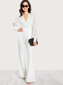Plunging Pearl Embellished Lantern Sleeve Flared Jumpsuit