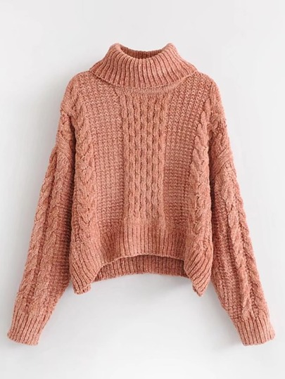 Turtleneck Cable-knit Chenille Sweater