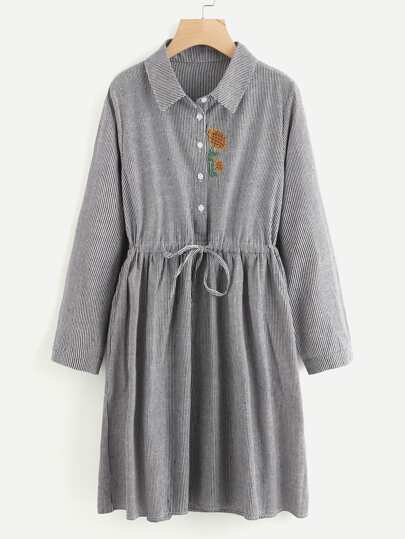 Sunflower Embroidery Drawstring Striped Shirt Dress