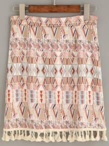 Jupe imprimé tribal avec franges - brun clair