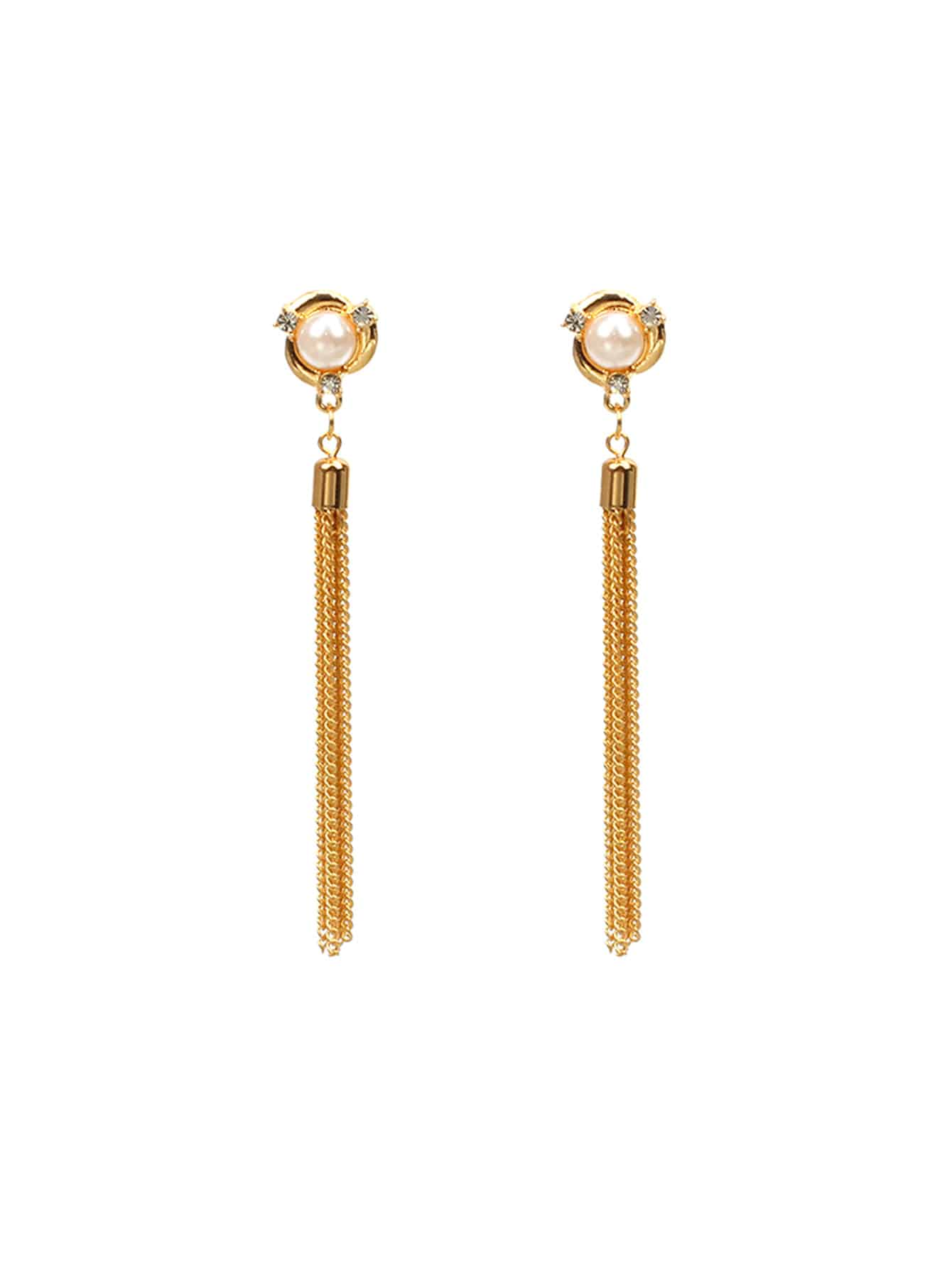 Chain Tassel Drop Earrings With Jewelry tanqu shoulder chain strap with drop shaped attachment for obag strap chain with empty hole drop for o bag