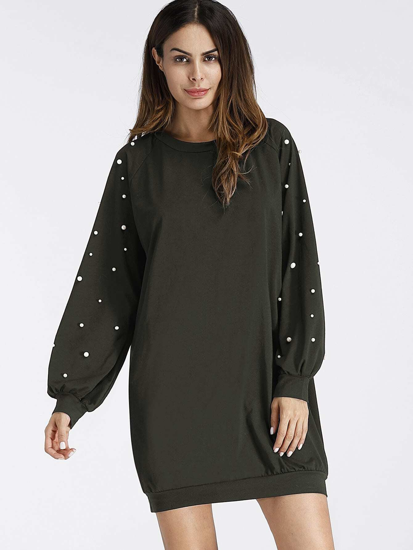 Raglan Sweatshirt Kleid mit Perlen
