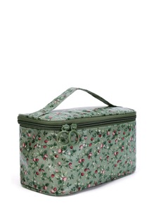 Double Zipper Calico Print Makeup Bag