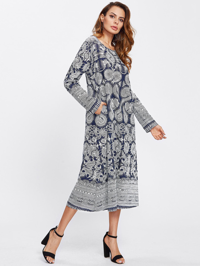 Tribal Print Longline Dress