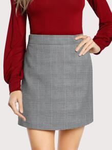 Pocket Side Plaid Skirt
