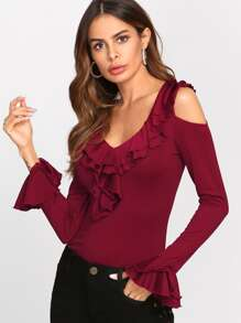 Tiered Ruffle Cuff And Neck Fitted Top