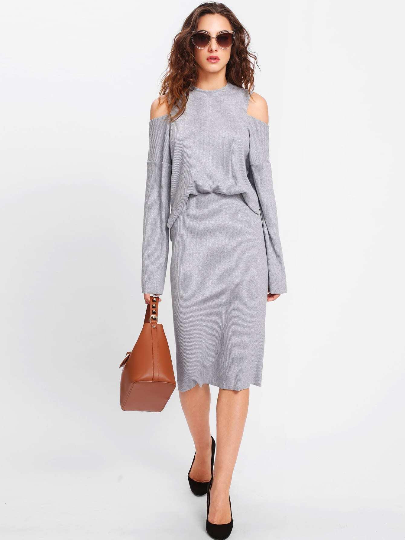 Open Shoulder Ribbed Tee & Skirt Set lisa corti короткое платье