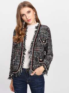 Pearl Beading Applique Trim Tweed Blazer