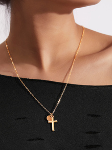 Cross & Sequin Pendant Link Necklace