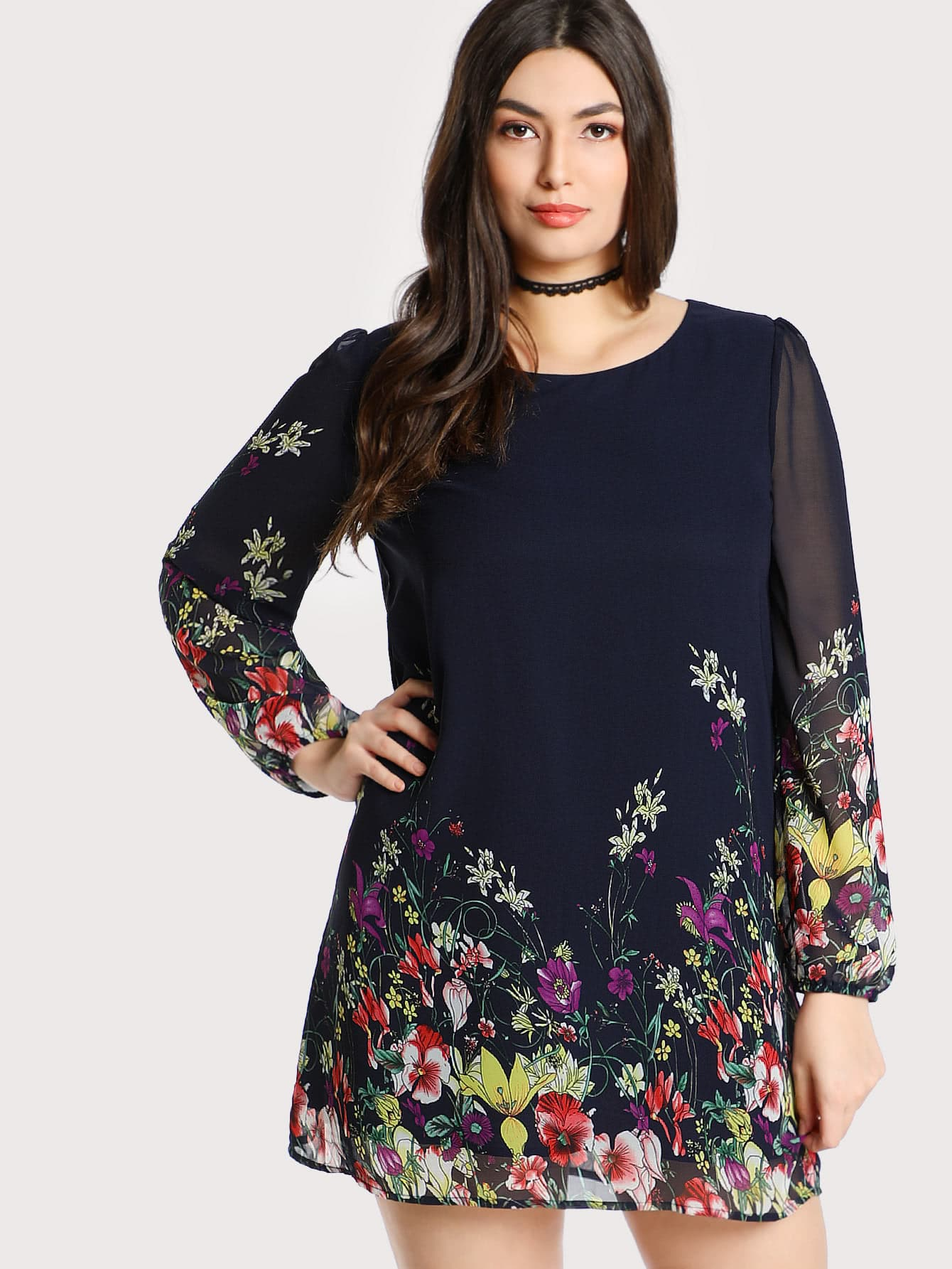 Plus Botanical Print Tunic Dress