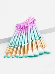 Ombre Handle Makeup Brush Set 10pcs