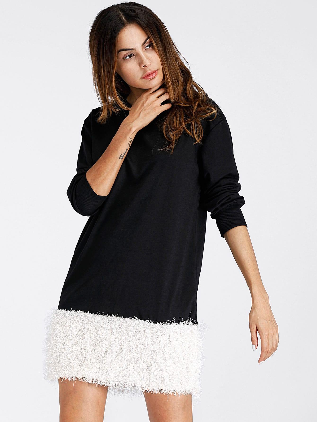 Contrast Faux Fur Hem Dress drop shoulder contrast faux fur sleeve sweatshirt