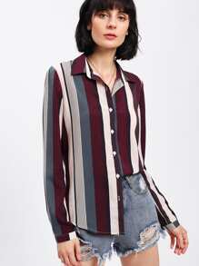 Vertical Striped Curved Hem Shirt