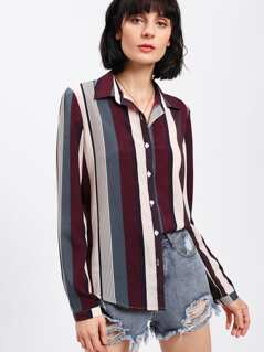 Vertical Striped Curved Hem Shirt