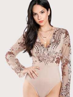 Sequin Mesh Bodice Bodysuit