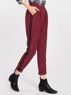 Striped Side Cord Peg Pants