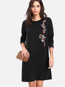 Flower Embroidered Flowy Dress