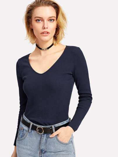 V Neckline Ribbed Knit Tee
