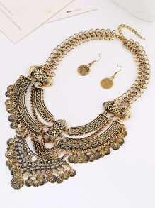 Sequin Charm Pendant Retro Necklace & Earring Set