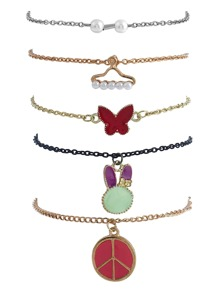 Butterfly Charm Chain Bracelet 5pcs