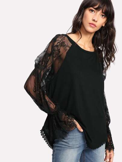 Eyelash Lace Raglan Sleeve Crochet Hem Blouse
