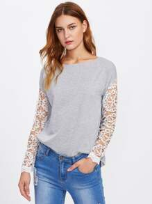 Hollow Out Lace Panel Drop Shoulder Tee