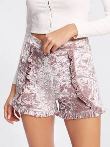 Frilled Trim Crushed Velvet Shorts