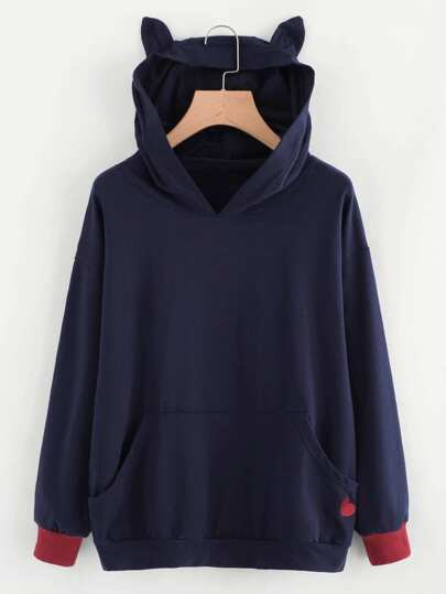 Contrast Ribbed Cuff Heart Embroidered Hoodie