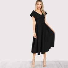 Cross Wrap Box Pleated Formal Dress