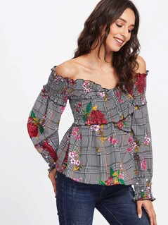 Mixed Print Lettuce Trim Top