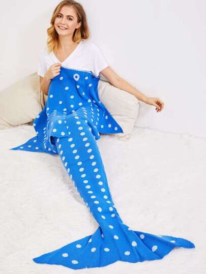 Polka Dot Print Fish Tail Mermaid Blanket