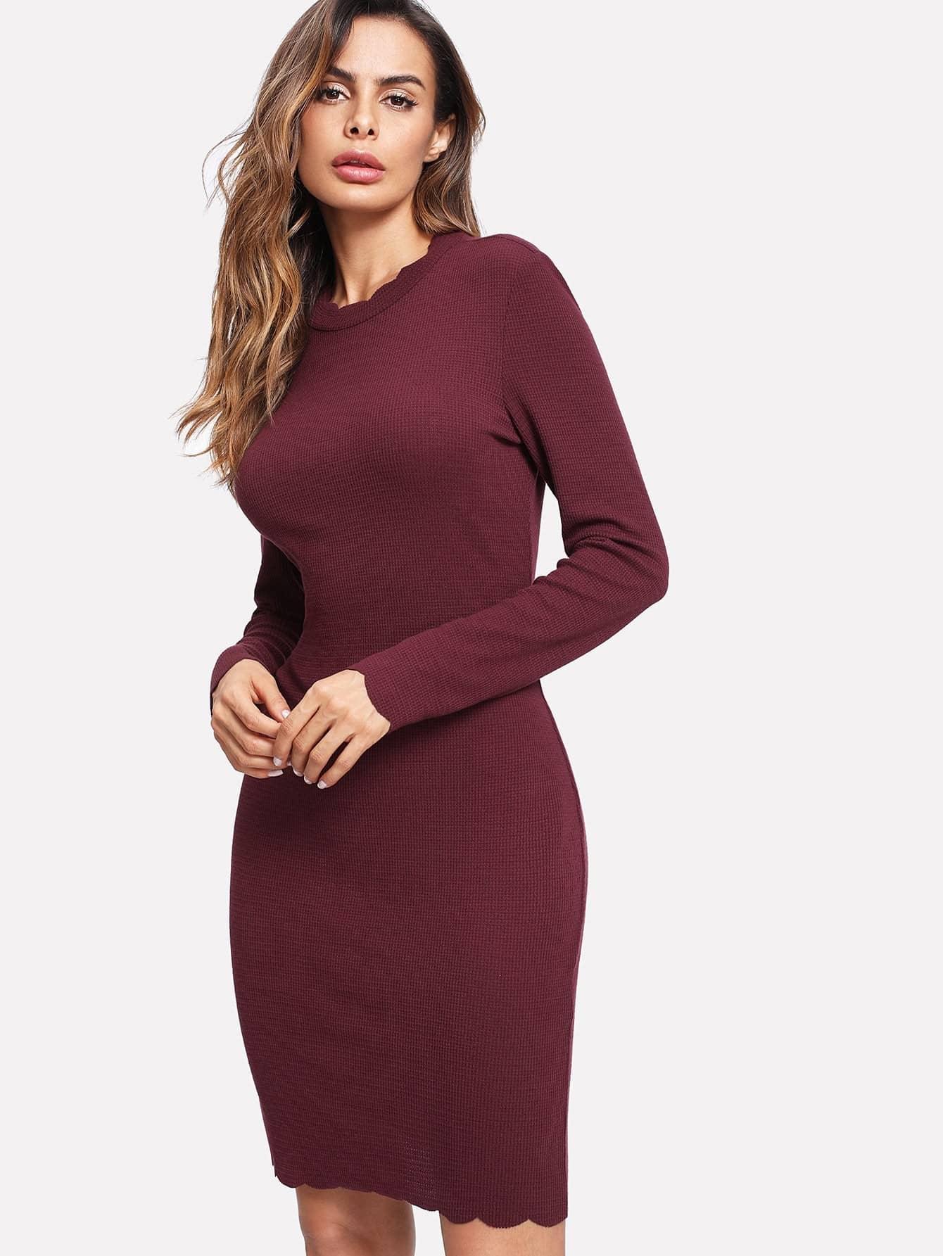 Scallop Edge Rib Knit Dress dress171121703