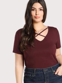Crisscross Neck T-shirt