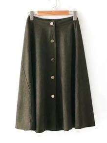 Button Detail Knee Length Skirt