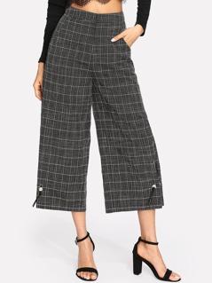 Pearl Detail Grid Culotte Pants