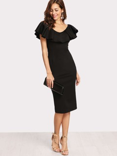Flounce Neck Two Way Form Fitting Dress