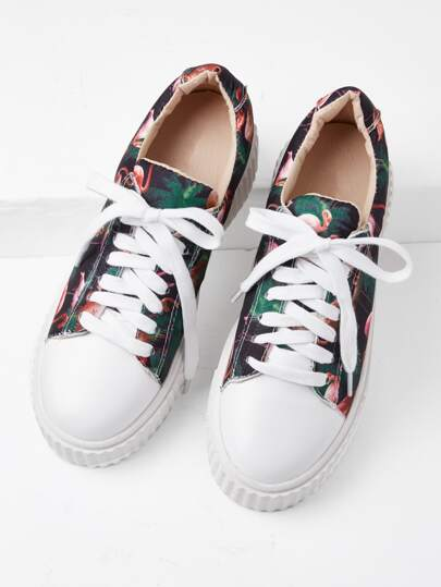 Mixed Print Lace Up Flatform Sneakers